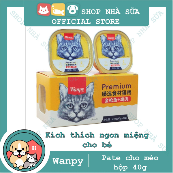 Pate - Thức ăn ướt Wanpy cao cấp cho mèo - Wanpy Premium hộp 40g