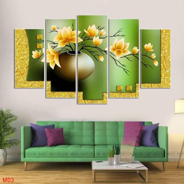 [HOT] 20 Bộ tranh treo tường 5 bức phong cách hiện đại khổ rộng 1,5M, tranh in sắc nét rực rỡ, tặng kèm đinh treo