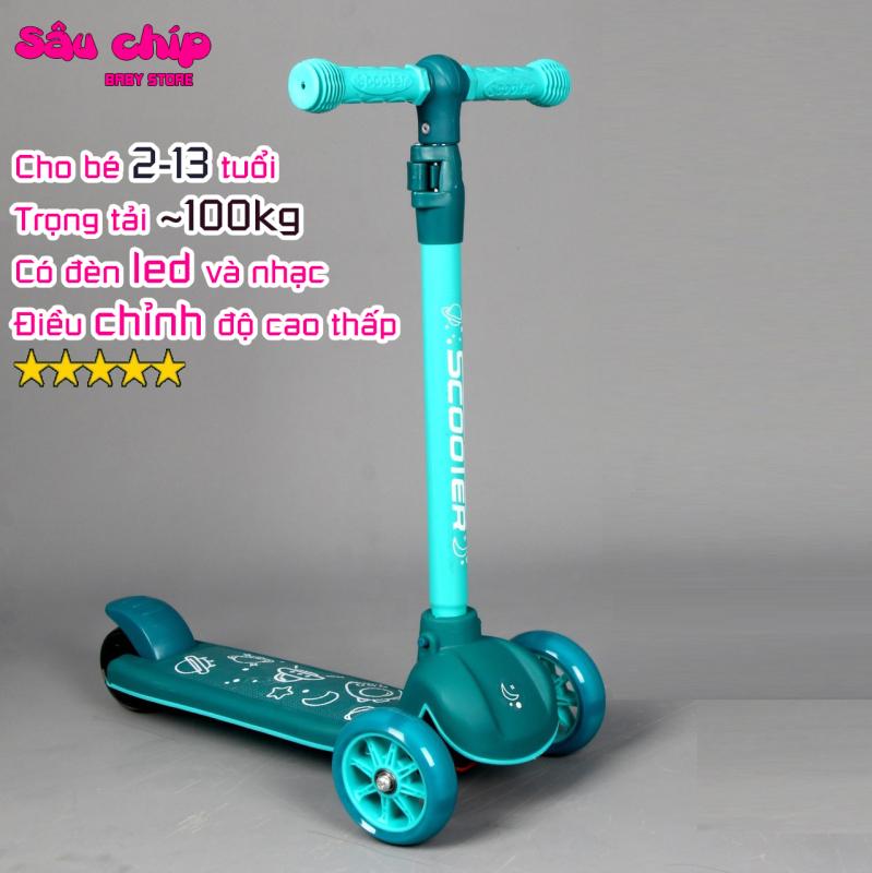Mua Xe trượt Scooter 601 có nhạc đèn led và bánh phát sáng, chịu lực tải 100kg dành cho bé 2-13 tuổi ( Mẫu mới 2020)