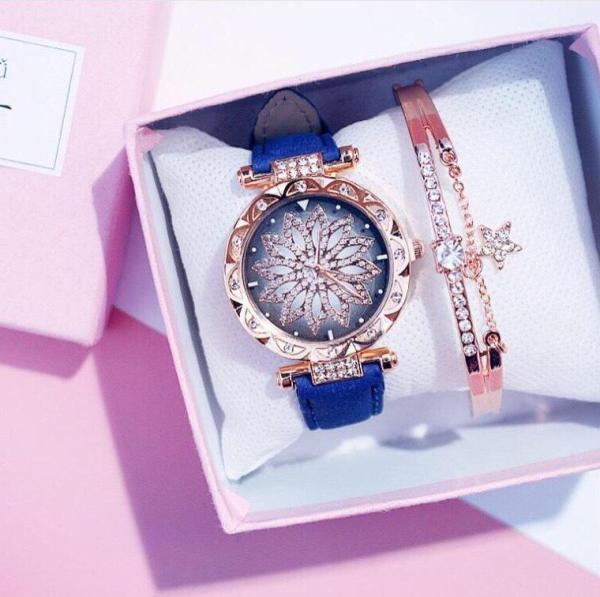 Nơi bán bộ Đồng hồ nữ kèm vòng tay đính đá lấp lánh, đồng hồ thời trang nữ, đồng hồ thời trang nữ cao cấp,  Đồng hồ thời trang nữ Candycat mặt hoa đính đá siêu đẹp