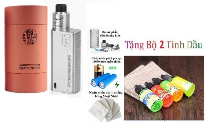 Bộ full combo thuốc la điện tử tesla 90w siêu smok giá rẻ model 2019 (bạc) + tặng kèm 1 cặp coil + bông + 3 lọ tinh dầu + 1 Pin chuyên dụng