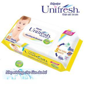 Bộ 5 gói khăn ướt Unifresh Vitamin E 80 tờ - khăn ướt không mùi Unifresh thumbnail