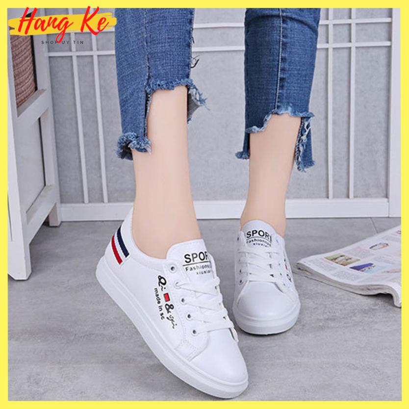 Giày nam nữ sneaker Hàn Quốc gót kẻ sọc - G3SOC02, chất liệu da mềm thoáng khí, đế cao su mềm cao 2,5cm, phù hợp đi làm đi học và đi chơi - Hang ke giá rẻ
