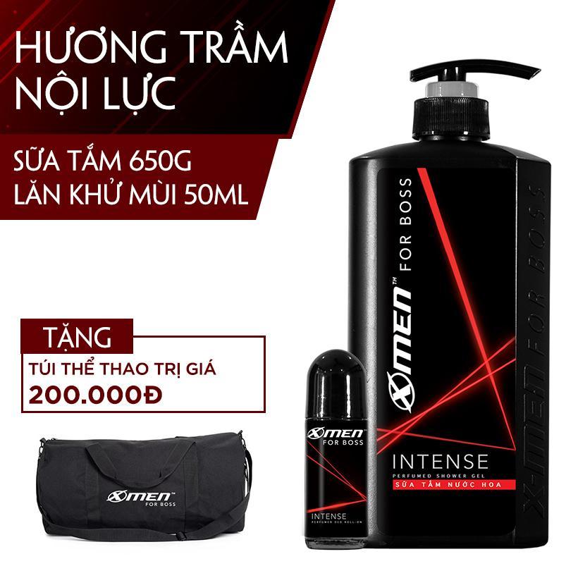 Combo Sữa tắm nước hoa X-men For Boss Intense 650g + Lăn khử mùi Xmen For Boss Intense 50ml tặngTúi Thể thao sành điệu
