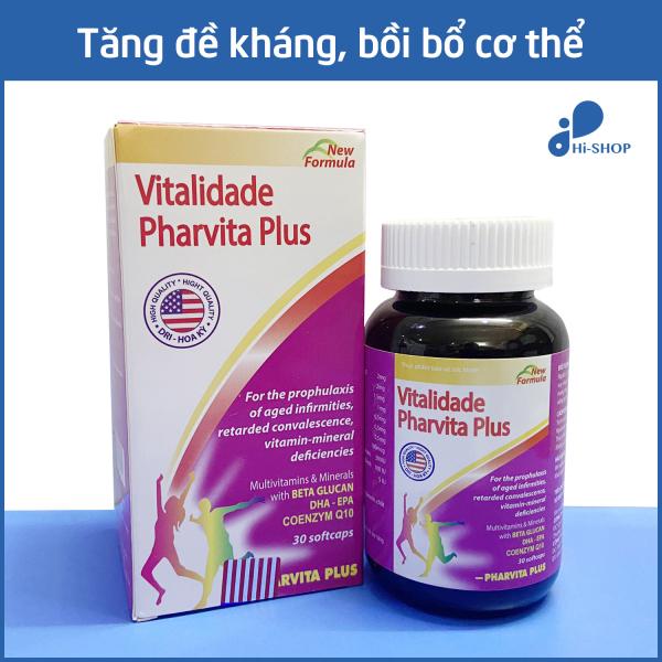 Viên uống vitamin tổng hợp Vitalidade Pharvita Plus bồi bổ cơ thể, tăng cường sức đề kháng - Chai 30 viên