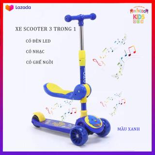 Xe Trượt, Xe tròi chân Scooter có nhạc có đèn led 3 Trong 1, Bánh Phát Sáng Cho Bé Từ 3 - 8 Tuổi Tải Trọng Lên Đến 100kg, Đồ Chơi hoạt động ngoài trời cho bé thumbnail