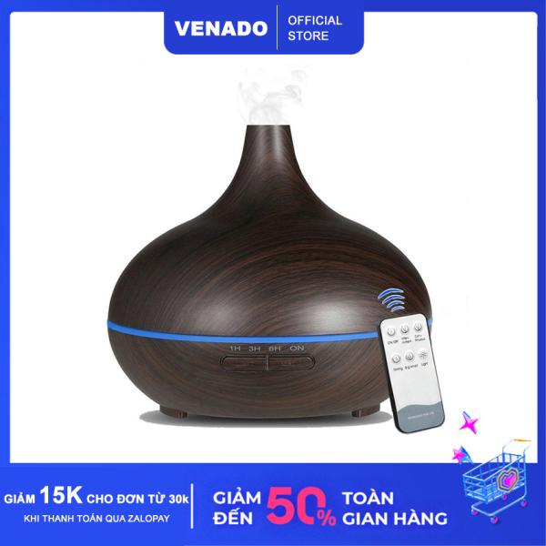 Máy xông tinh dầu cổ cao vân gỗ 500ml có remote led 7 màu tự động tắt khi hết nước Venado khuếch tán hương thơm tinh dầu, đuổi muỗi