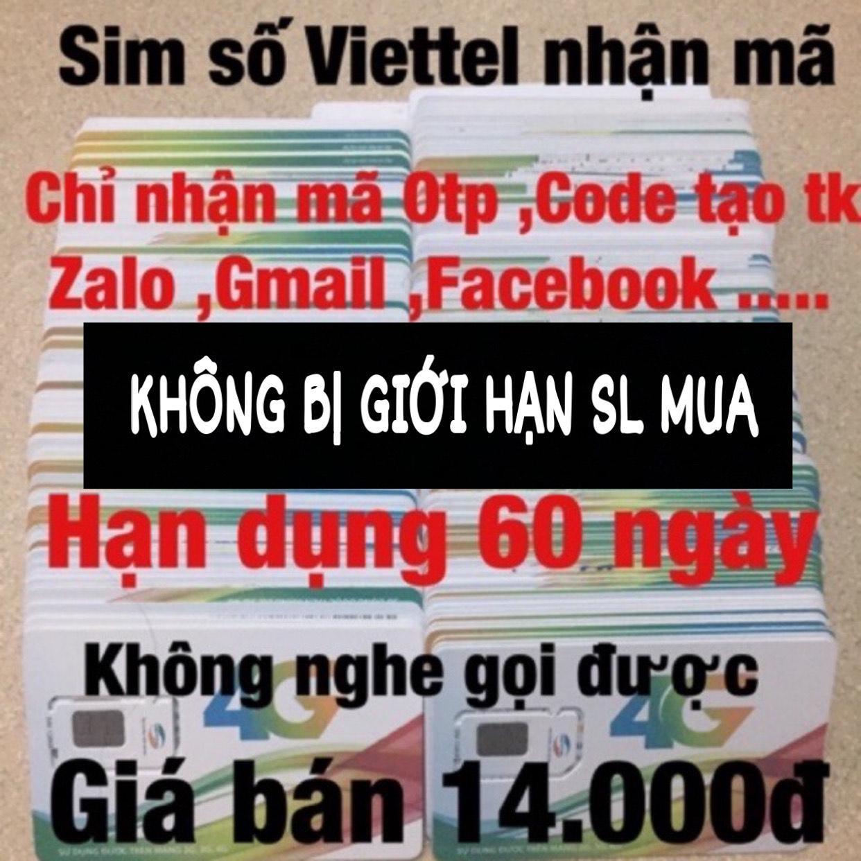 Ưu Đãi Giá cho Sim Viettel Nhận Mac Otp 13K/Sim