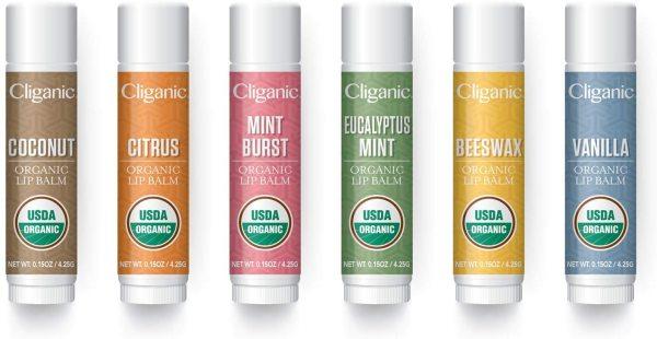 Son dưỡng môi hữu cơ cao cấp Cliganic USDA cho môi khô và nứt nẻ - 6 mùi hương – hàng USA
