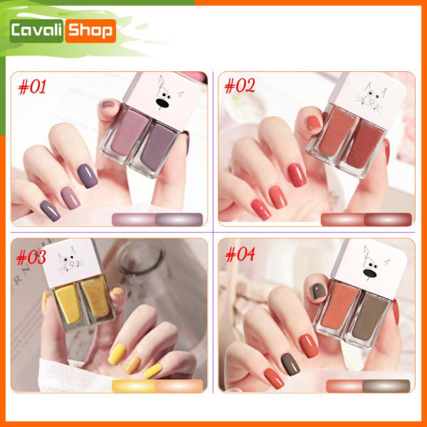 [HOT TREND] Set 2 chai sơn móng tay nhũ + lì - CAVALI - Dung tích 2*6ml nhỏ gọn, nhiều màu xinh xắn cho bạn lựa chọn ( MUA 3 TẶNG 1 ) giá rẻ