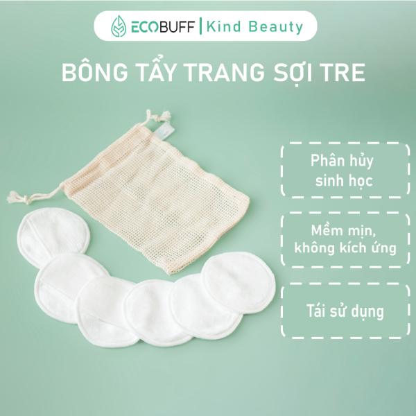 Bông tẩy trang Cotton Pads tái sử dụng nhiều lần Ecobuff vải sợi tre sạch da phân huỷ sinh học thân thiện môi trường