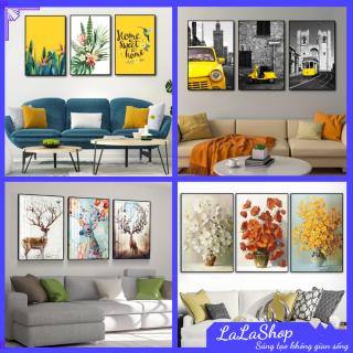 [Freeship] Tranh Canvas treo tường LaLaShop khung gỗ cao cấp - Bộ 3 bức Tranh canvas treo tường có khung phong cách Châu Âu, Tranh vải treo tường phòng khách sang trọng Tranh nghệ thuật đẹp tặng kèm đinh treo thumbnail