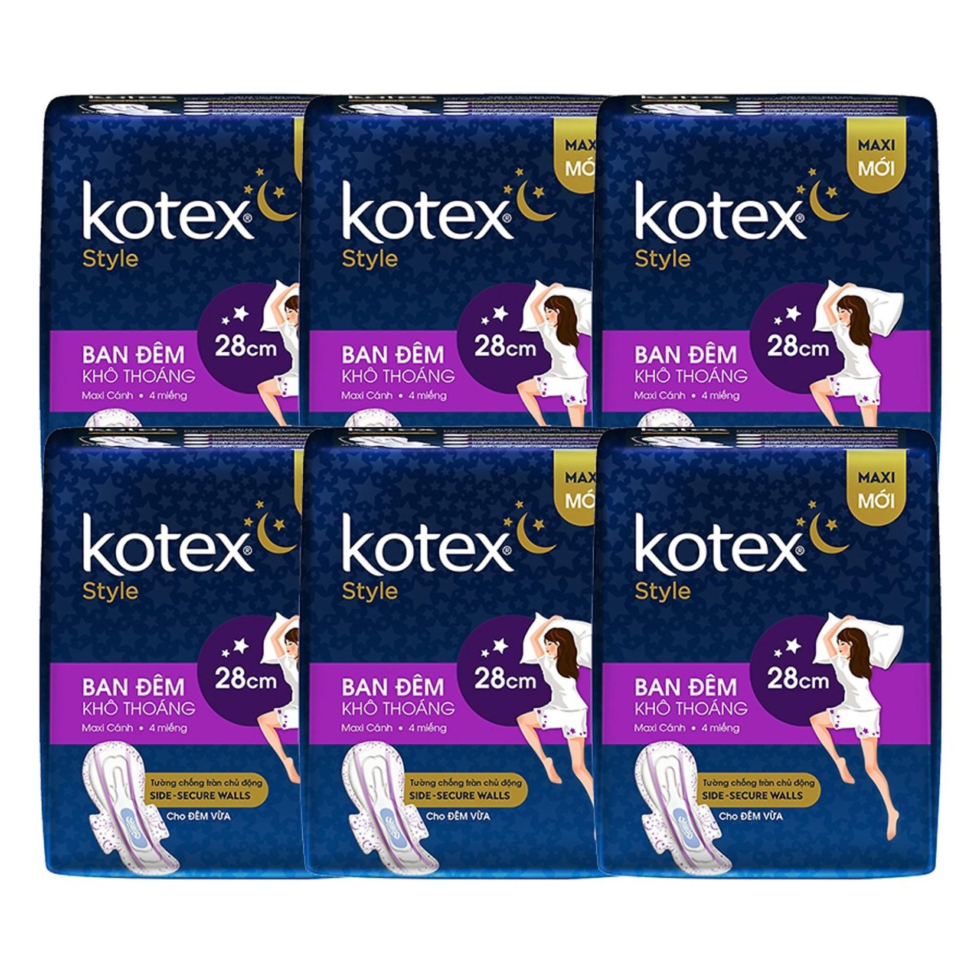 Bộ 8 Gói Băng Vệ Sinh Kotex Style LST Cánh Đêm 28cm nhập khẩu