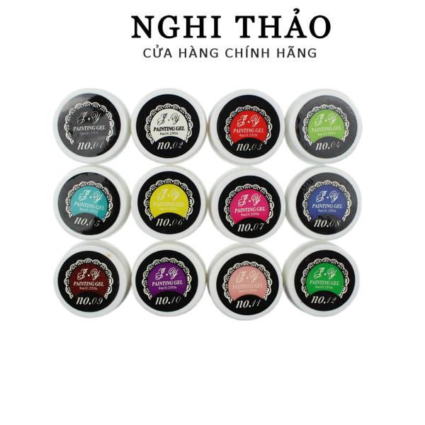 Gel vẽ nail Nghi Thảo , gel vẽ móng 12 màu siêu đặc giá rẻ