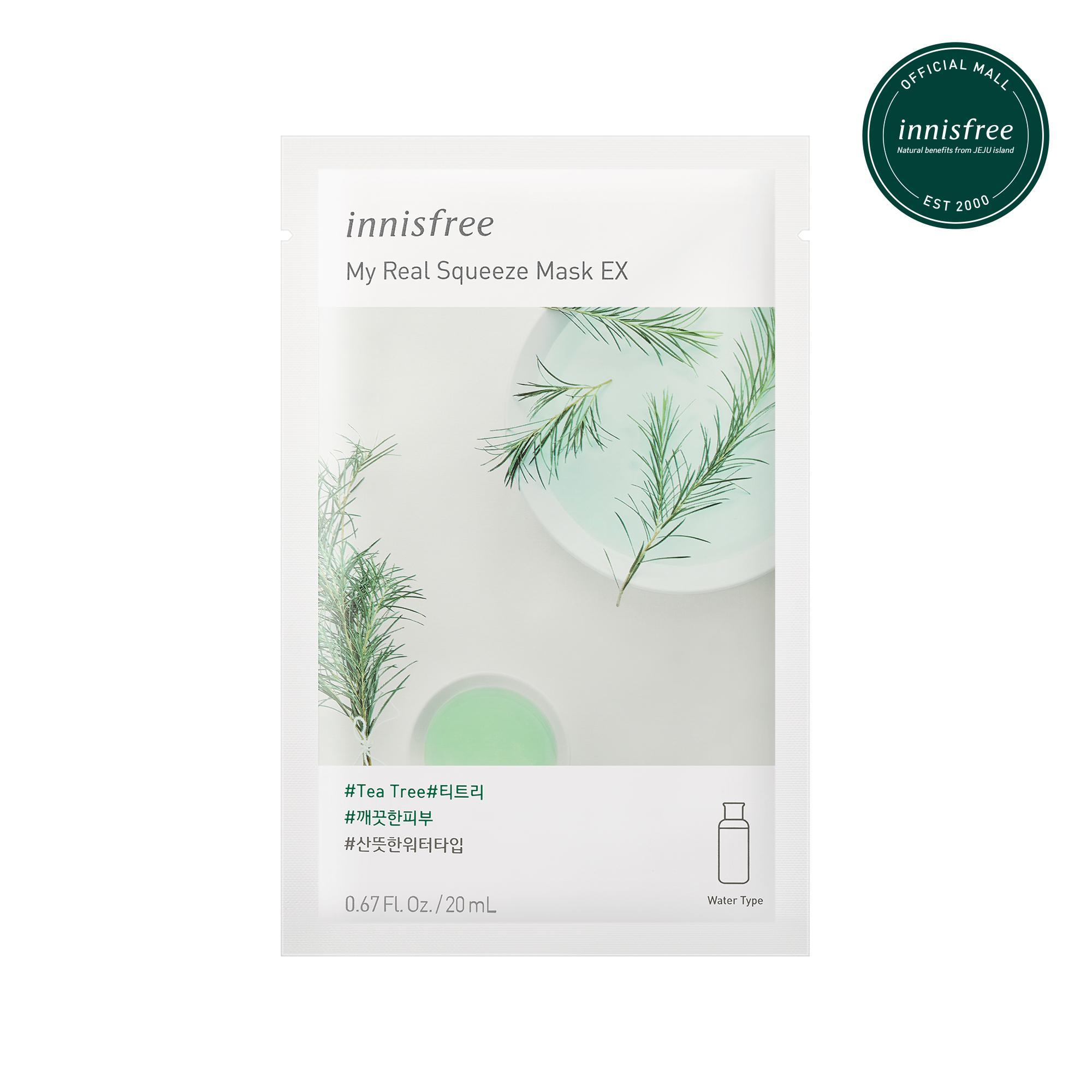 Mặt nạ giấy dưỡng ẩm & kháng khuẩn từ cây trà Innisfree My Real Squeeze Mask - Tea Tree 20ml