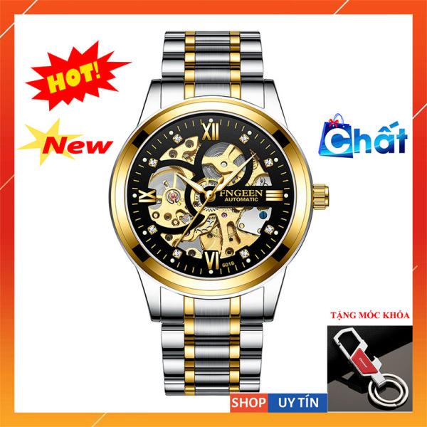 Đồng hồ nam chính hãng FNGEEN,đồng hồ cơ autumatic,tự động lên dây cót, lộ cơ mặt và đáy,sang trọng và nam tính-BH 1 NĂM bán chạy