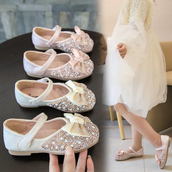 Giá bán Giày Búp Bê Bé Gái Gắn Nơ Đính Kim Sa Lấp Lánh Giày Bé Gái từ 3-14 tuổi Phong Cách Công Chúa G26