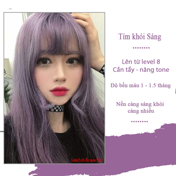 Thuốc nhuộm tóc màu TÍM KHÓI SÁNG màu nhuộm lên chuẩn màu kem nhuộm an toàn nhuộm không sót da đầu mùi thơm