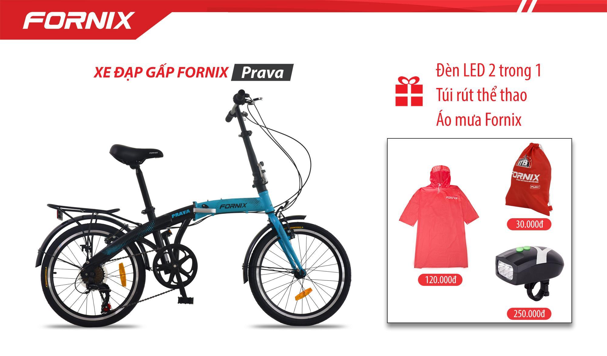 Mua Xe đạp gấp hiệu FORNIX, mã PRAVA (NEW) + (Gift) Đèn 2 in 1, túi Fornix, Áo mưa