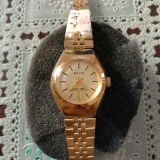 Đồng hồ nữ Silva 26mm máy swiss lên cót, khung viền, dâymạ vàng 24k thumbnail