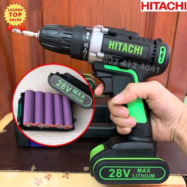 Máy Khoan Pin HITACHI 28v (Tặng mũi khoan + mũi bắt vít) ( Hàng 5 Cell Pin ) ( Khoan bắn vít, bắn tôn, khoan gỗ, khoan sắt) (Khách tự chọn 1 pin hoặc 2 pin khi thanh toán)