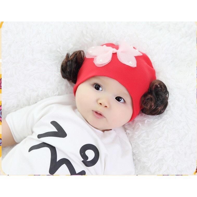 Giá bán Mũ tóc giả cotton cho bé gái cánh bướm(1-24 tháng)