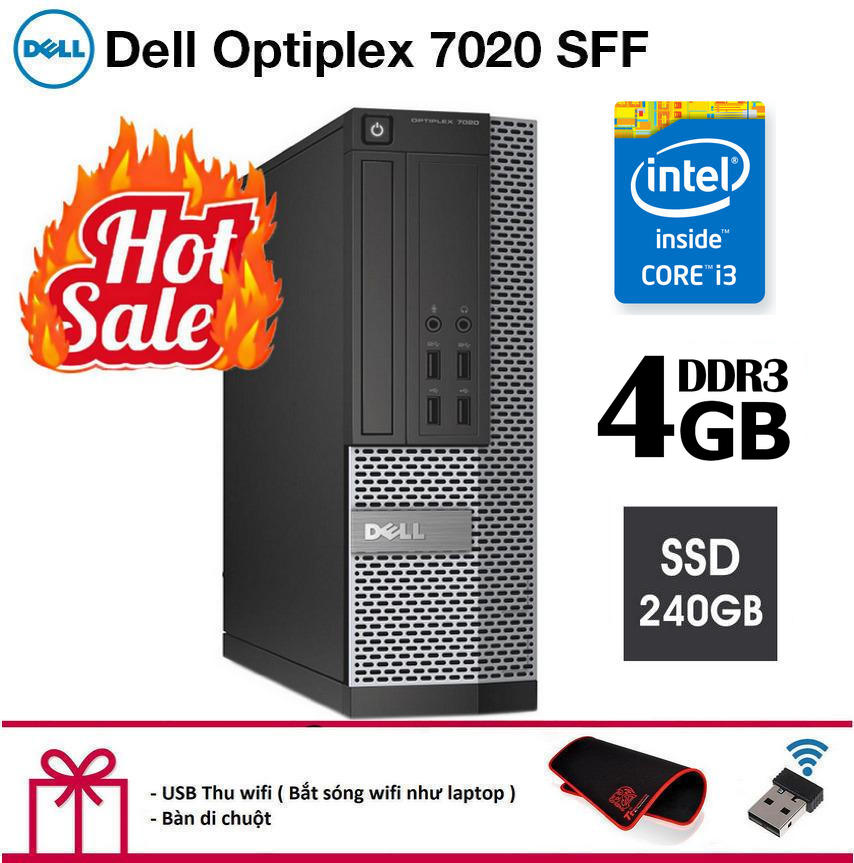 Deal Giảm Giá Case Máy Tính để Bàn Dell Optiplex 7020 SFF Cpu Intel Core I3 4130, Ram 4GB, Ổ Cứng SSD 240GB. Hàng Nhập Khẩu.Tặng Bàn Di Chuột Và USB Thu Wifi.Bảo Hành 2 Năm [ Máy Tính đồng Bộ Dell ]