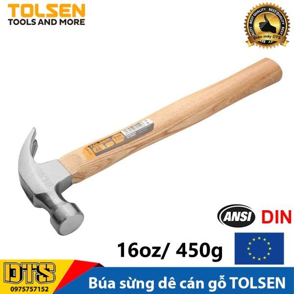 Búa sừng dê, búa nhổ đinh cán gỗ 16oz 450g TOLSEN - Tiêu chuẩn xuất khẩu châu Âu