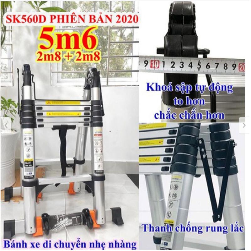 Thang nhôm rút đôi SUMIKA SK 560D New 2020 Chữ A 2m8 – duỗi thẳng 5m6 ( màu bạc ). An toàn – Tiện lợi – Tiết kiệm ,2x9 bậc, tải trọng 300kg,nút cao su chống trượt,khóa chống lắc,bảo hành 2 năm.
