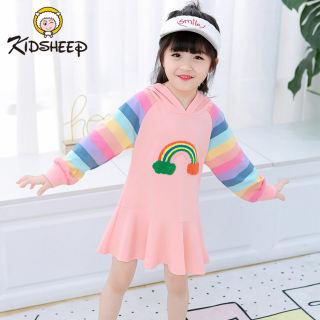 Kidsheep quần áo trẻ em gái Váy bé gái Đầm bé gái Váy tay dài đẹp Váy cầu vồng Váy dài tay có mũ