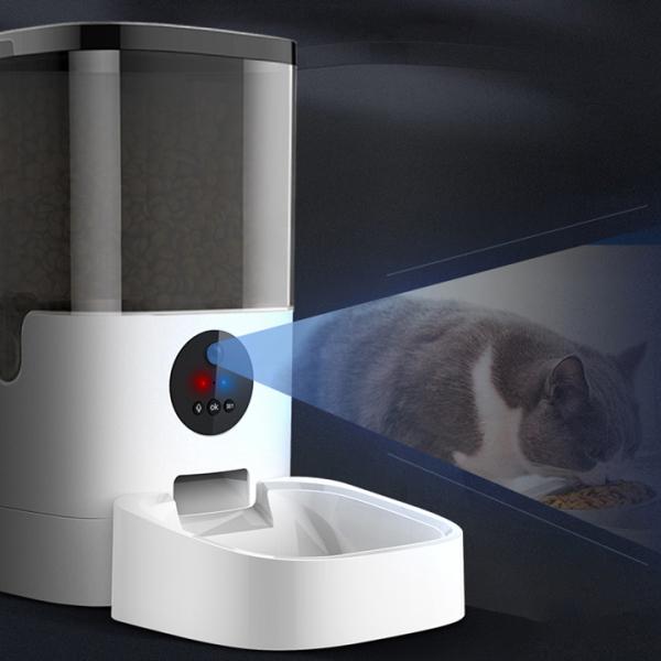 Máy cho mèo ăn tự động màn hình led dễ sử dụng, có camerra quan sát - Máy Thức ăn tự động cho mèo 4L, 6L