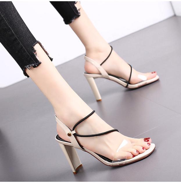 (Bảo hành 12 tháng) Giày cao gót nữ gót mảnh quai ngang trong phối dây zik zak - Giày sandal cao gót 9cm - Giày nữ da bóng cao cấp 3 màu Đen - Kem - Đỏ - Linus LN120 giá rẻ