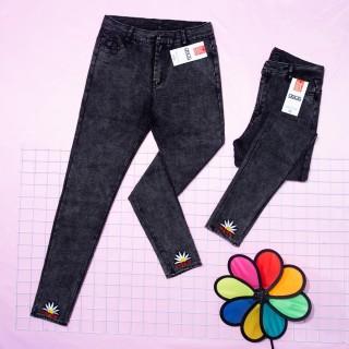 Quần dài nữ kaki jean co giản thiêu bông cúc lai thời trang xuân hè sản phẩm mới Kkw 11 thumbnail
