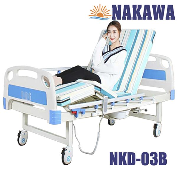 giường y tế điện đa năng có bô vệ sinh NAKAWA NKD-03B, giường bệnh nhân giá rẻ -[Giá:11.990.000]- Giường bệnh viện viện đa chức năng, nursing bed