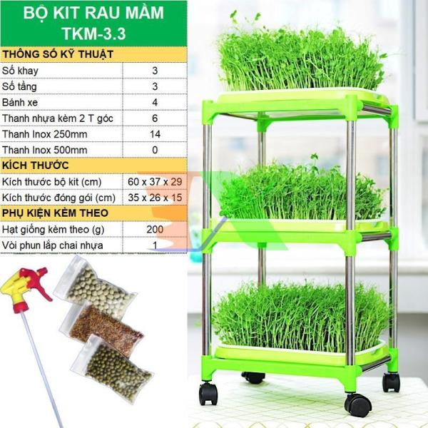 Bộ kit trồng rau mầm thủy canh chuyên dụng TKM-3.3, Khay, Giá đỡ, Vòi xịt, Hạt giống