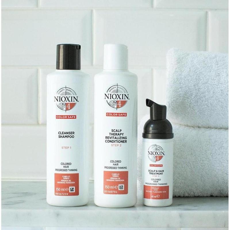 Bộ dầu gội xả Nioxin Trialkit chống rụng tóc System 4 150mlx2 + 40ml 2019 ( Colored Hair) nhập khẩu