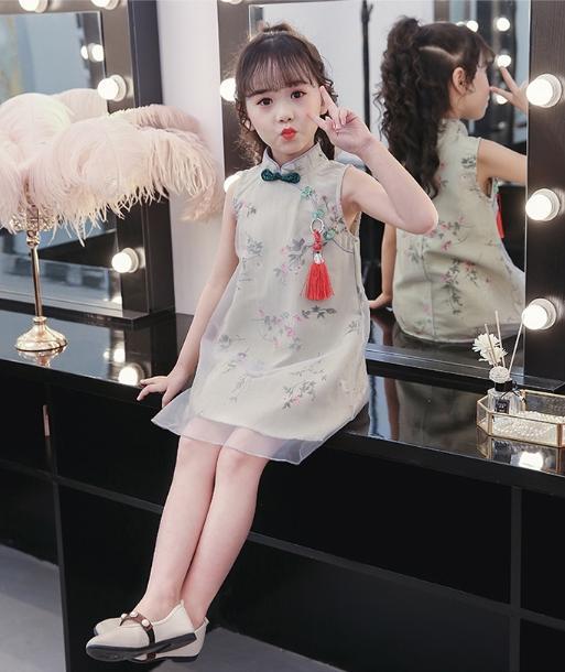Giá bán Đầm Thiết Kế cho bé gái họa tiết Trung Hoa Siêu Đáng Yêu mùa hè 2019 cho bé từ 5 - 8 tuổi [ KidsShopSG ]