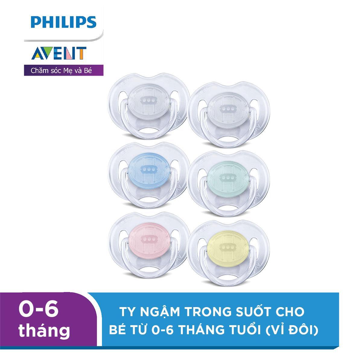 Ty ngậm Philips Avent trong suốt cho bé từ 0-6 tháng tuổi (vỉ đôi) SCF170/18