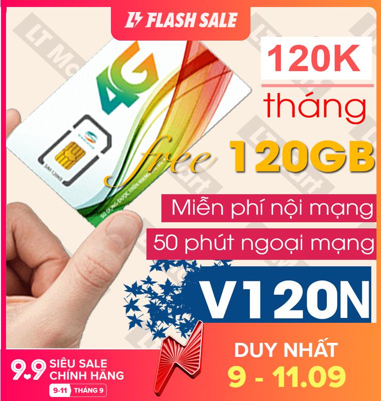 Sim 4G Viettel gói 4GB/ngày (120Gb/tháng) V120N + 50 Phút gọi ngoại mạng + Gọi nội mạng miễn phí