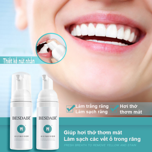 BESDAIR Bọt Tẩy Trắng Răng Làm Sạch Răng Khử Mùi Hôi Miệng Mousse Teeth Whitening Clean Teeth 60ml