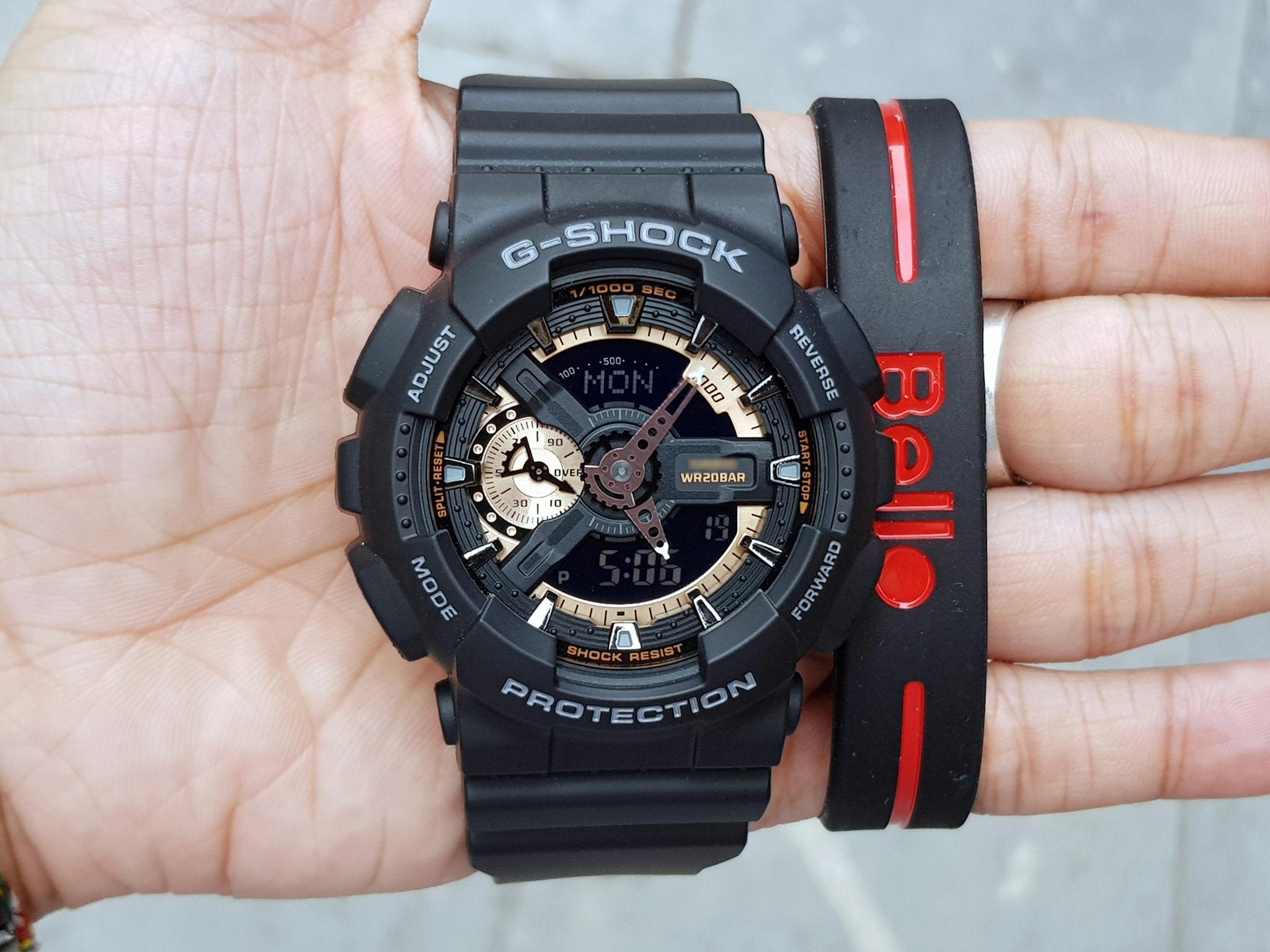 Đồng hồ thể thao nam G Shock - GA110 55mm điện tử chống nước đa năng (Màu vàng đồng) Nhật Bản