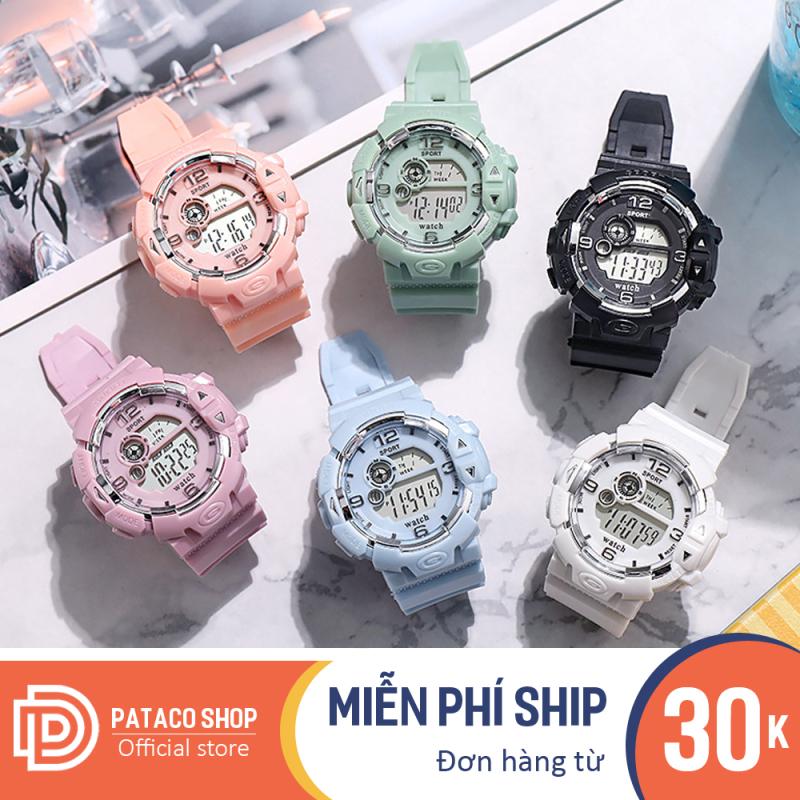 Đồng hồ thể thao nam nữ điện tử chống nước S203 có đèn sáng, dây nhựa nhiều màu cực bền dùng đi học hoặc đi chơi, đồng hồ dùng cho cặp đôi