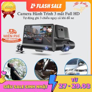 [SALE SỐC + Có Hướng Dẫn Lắp Đặt ] Camera hành trình ô tô 3 mắt camera, màn hình 4 inh full HD 1080, thumbnail