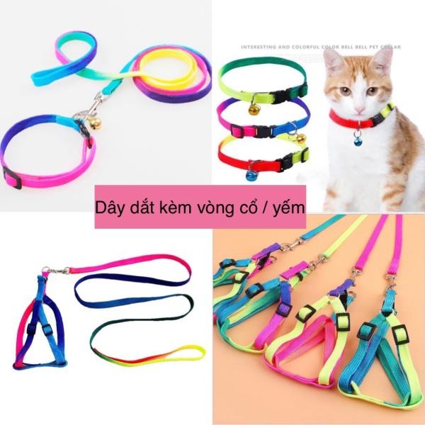 Dây dắt kèm vòng cổ / yếm cho chó mèo 7 sắc cầu vồng