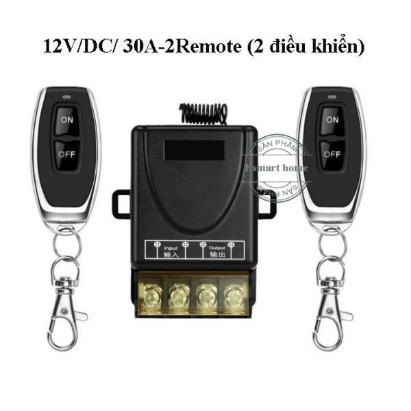 Công tắc điều khiển từ xa Rf 100m 12V DC/30A có 2 Remote điều khiển, công tắc điều khiển từ xa 12v