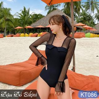 Áo tắm liền thân tay ren dài, phối lưới sexy quyến rũ, mẫu một mảnh dấu bụng tôn dáng KT086 thumbnail