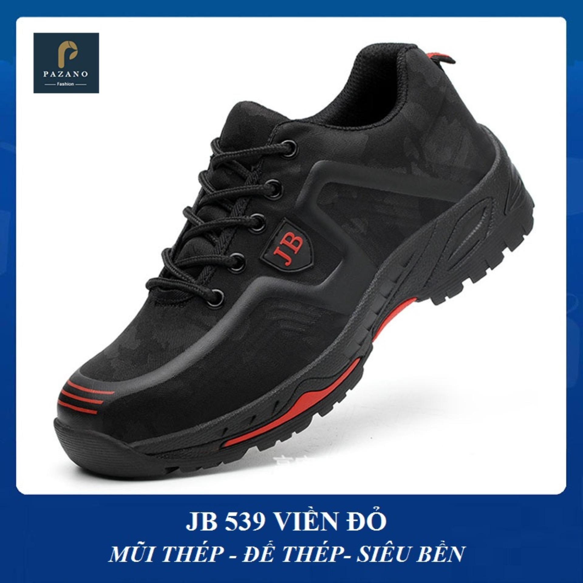 Giày bảo hộ lao động JB 539 màu đen viền đỏ [Có ảnh thực tế]