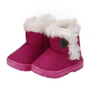 GC❥Bốt Đi Tuyết Trẻ Em Bé Gái Mùa Đông Thời Trang Chớp Nhoáng Giày Giữ Ấm Chống Trượt Có Nút Cashmere