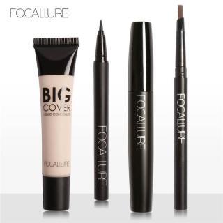 Bộ 4 sản phẩm trang điểm FOCALLURE gồm bút kẻ mắt nước bút kẻ lông mày mascara và kem che khuyết điểm với 4 tông màu tùy chọn - INTL thumbnail