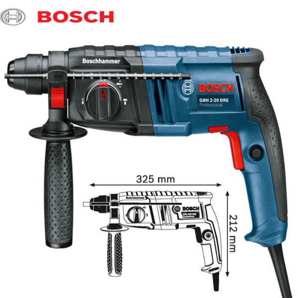 Máy khoan búa Bosch GBH 2-20 DRE (Xanh phối đen) Được làm từ chất liệu cao cấp, máy khoan búa sở hữu cho mình độ rắn chắc, bền bỉ, khó bị biến dạng khi chịu lực cao hay có va chạm mạnh